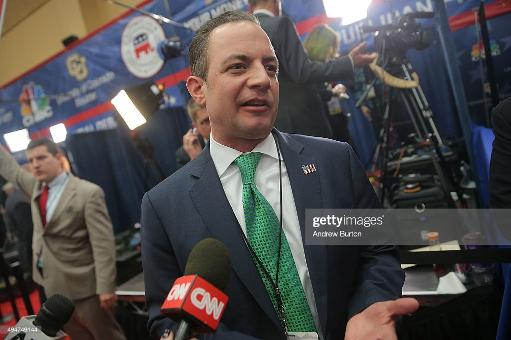 <a gi-track='captionPersonalityLinkClicked' href=/galleries/search?phrase=Reince+Priebus&family=editorial&specificpeople=7419119 ng-click='$event.stopPropagation()'>Reince Priebus</a>, chairman of the Republican National Committee, speaks to the media in the spin room after the CNBC Republican Presidential Debate at University of Colorado's Coors Events Center October 28, 2015 in Boulder, Colorado. Fourteen Republican presidential candidates participated in the third set of Republican presidential debates.
