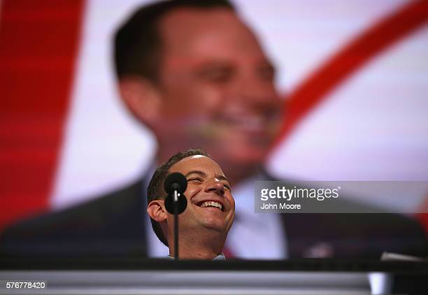 Reince Priebus chairman of the Republican National Committee speaks during a microphone test at the Quicken Loans Arena a day before the start of the...