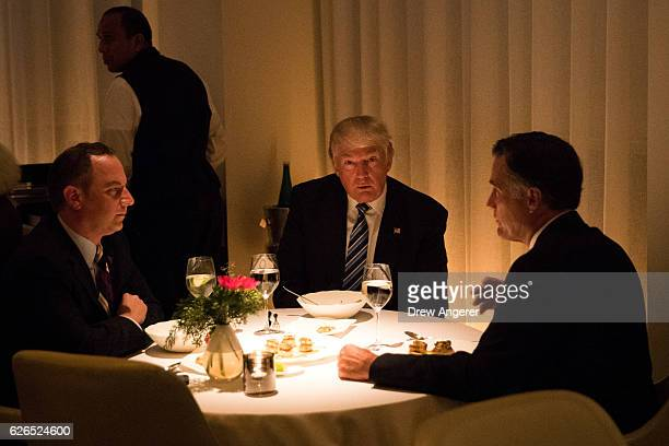 Reince Priebus incoming White House Chief of Staff Presidentelect Donald Trump and Mitt Romney dine at Jean Georges restaurant November 29 2016 in...