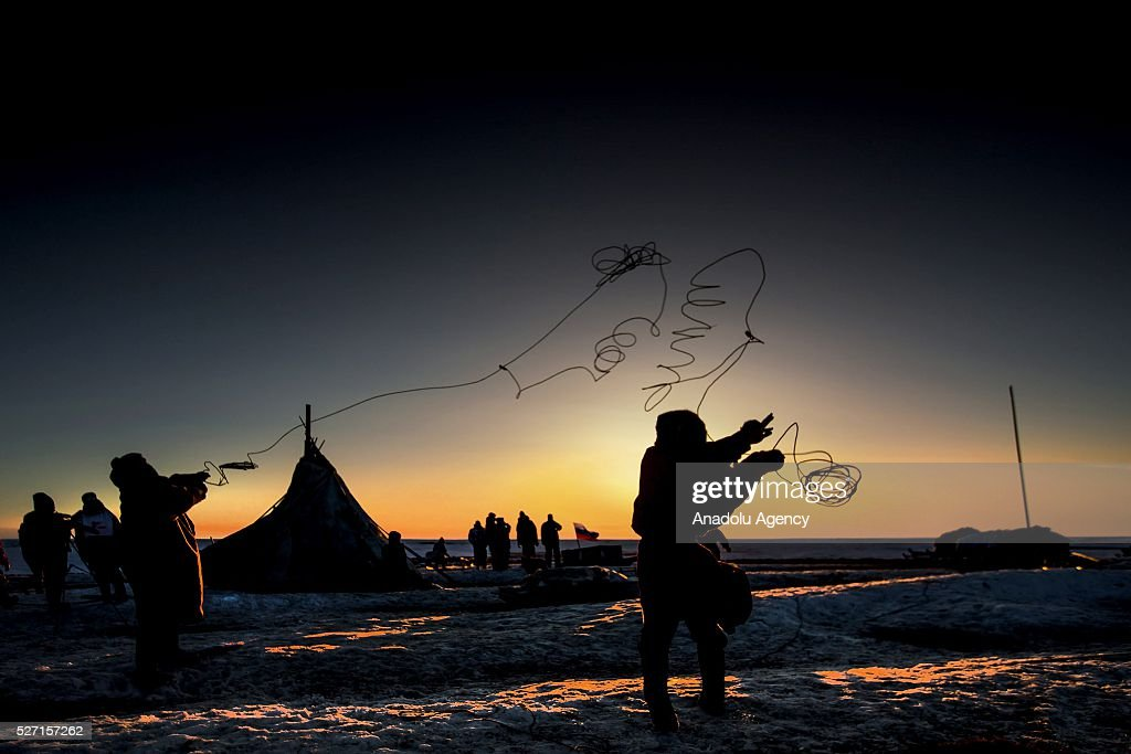 Reindeer herder tries to do Lasso throwing at Nomad camp, 150 km from the town of Salekhard, Yamalo-Nenets Autonomous Okrug in Russia on May 2, 2016.