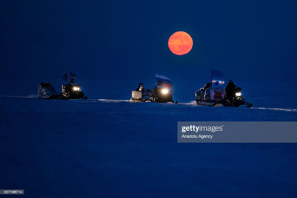 Reindeer herders ride snow motorcycles at Nomad camp, 150 km from the town of Salekhard, Yamalo-Nenets Autonomous Okrug in Russia on May 2, 2016.
