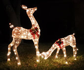 Two statues of reindeer decorated for Christmas with red wreaths glow with white fairy lights at night on a suburban front lawn.