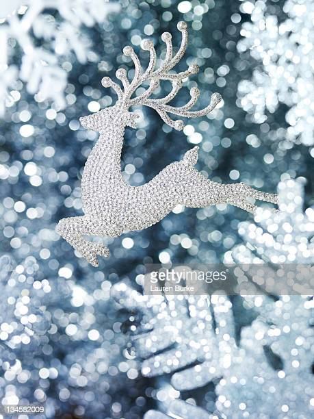 Reindeer Ornament With Glitter Snowflakes