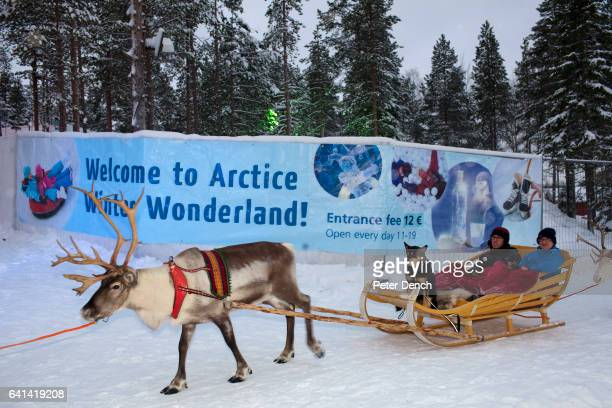 A reindeer ride at the Santa Claus Village in Lapland It is also the location of the main Santa Claus Post Office where around half a million letters...