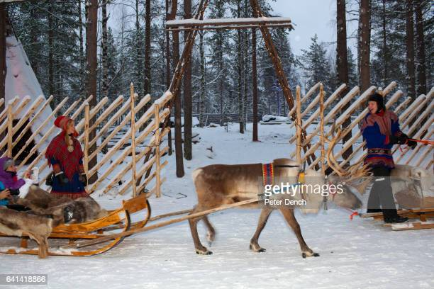 Reindeer rides at the Santa Claus Village in Lapland It is also the location of the main Santa Claus Post Office where around half a million letters...