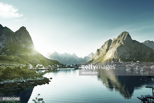 Reine Village, Lofoten Islands Norway : Foto de stock