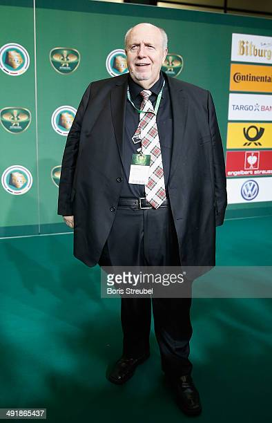 Reiner Calmund pose on the green carpet prior to the DFB Cup final at Olympiastadion on May 17 2014 in Berlin Germany