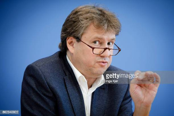 Reiner Eichenberger professor at the University in Fribourg gives a press conference on October 16 2017 in Berlin Germany