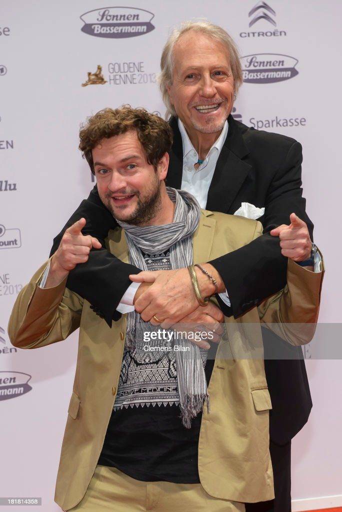 Reiner Schoene (R) and Nicolai Tegeler arrive for the Goldene Henne 2013 award at Stage Theater on September 25, 2013 in Berlin, Germany.