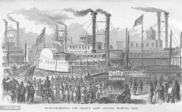 Reinforcements for Grant's Army Leaving Memphis Tennessee Steamer Alice Dean Memphis Tennessee early to mid 1860s From an issue of Frank Leslie's...