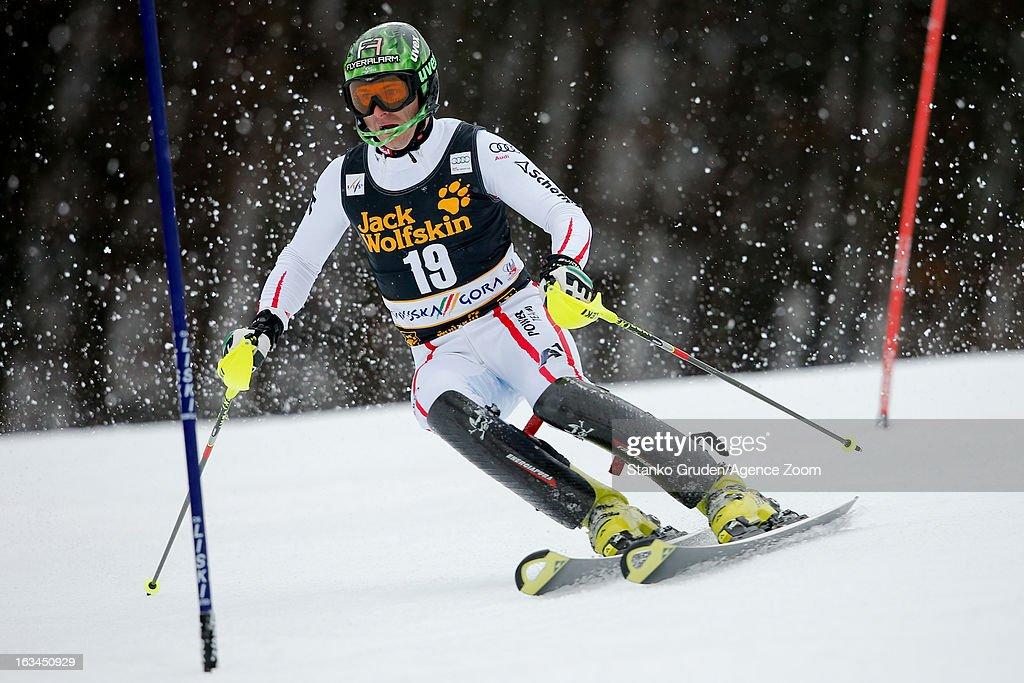 Reinfried Herbst of Austria competes during the Audi FIS Alpine Ski World Cup Men's Slalom on March 10, 2013 in Kranjska Gora, Slovenia.