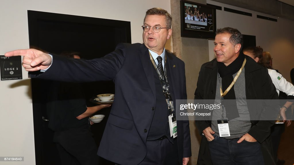 Reinhard Grindel, DFB president and Andi Moeller during the Club Of Former National Players Meeting at RheinEnergieStadion on November 14, 2017 in Cologne, Germany.