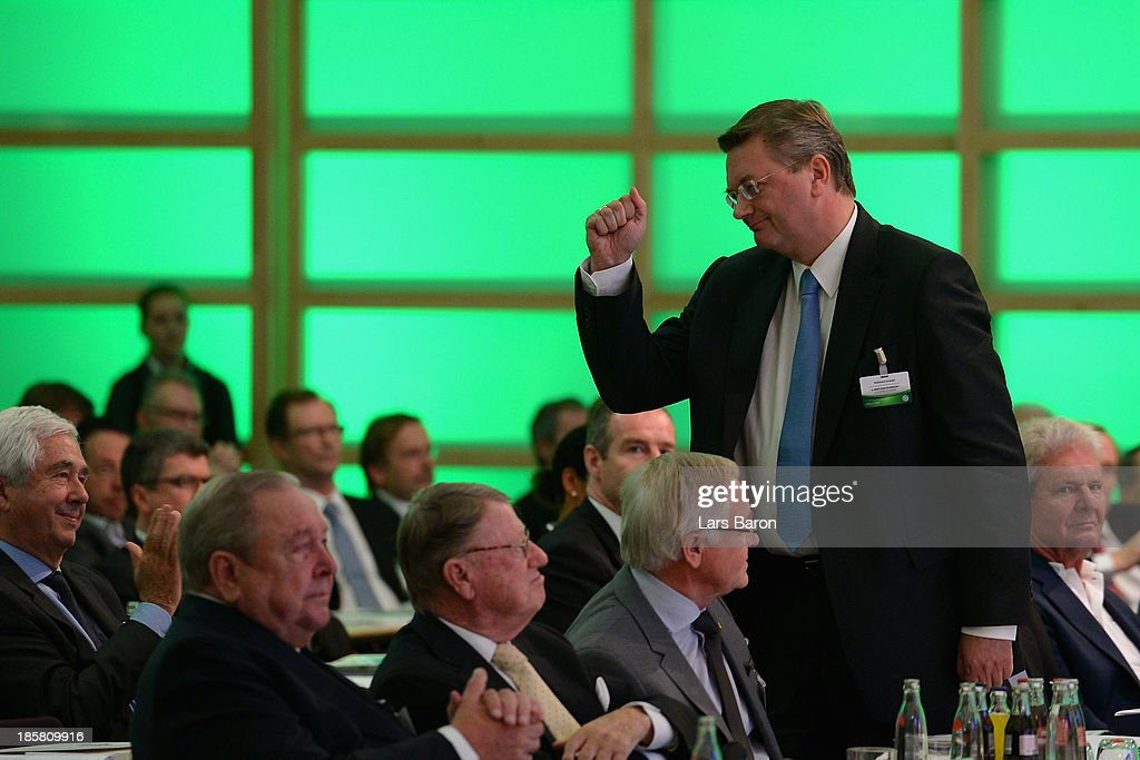 Reinhard Grindel is seen after his election as the new DFB treasurer during the DFB Bundestag Day 2 at NCC Nuremberg on October 25, 2013 in Nuremberg, Germany.
