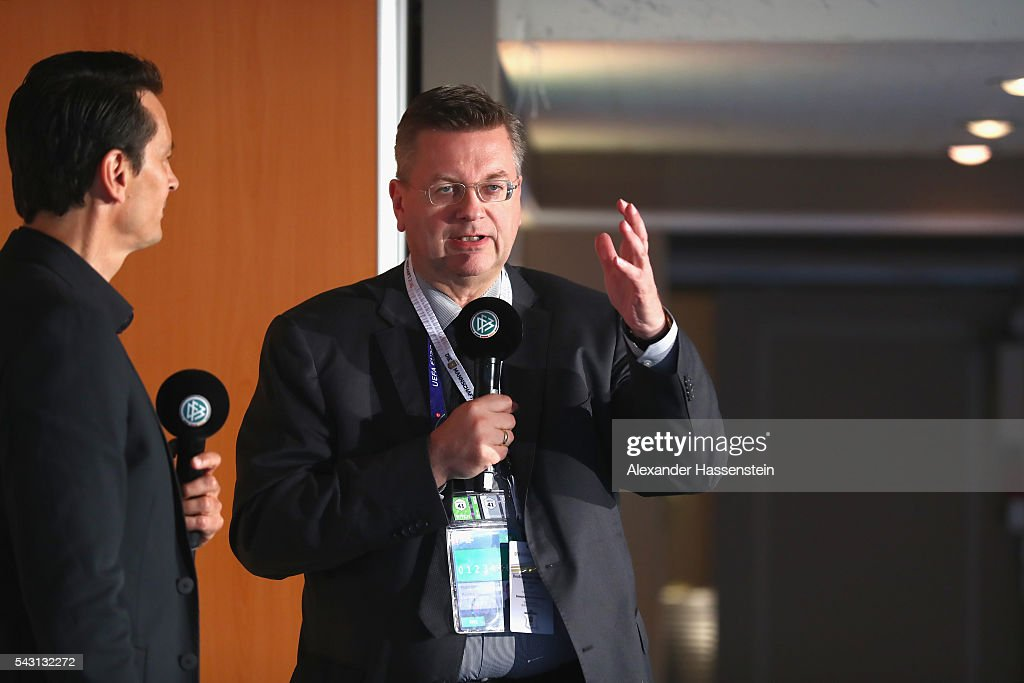 <a gi-track='captionPersonalityLinkClicked' href=/galleries/search?phrase=Reinhard+Grindel&family=editorial&specificpeople=8750586 ng-click='$event.stopPropagation()'>Reinhard Grindel</a>, president of Deutscher Fussball Bund DFB speaks during the DFB EURO 2016 Club reception at Domaine de la Chanterelle on June 26, 2016 in Lille, France.
