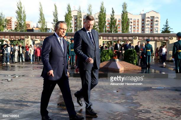 Reinhard Grindel president of the German Football Association and Vitaly Mutko Russian Deputy Prime Minister are seen during a wreathlaying ceremony...