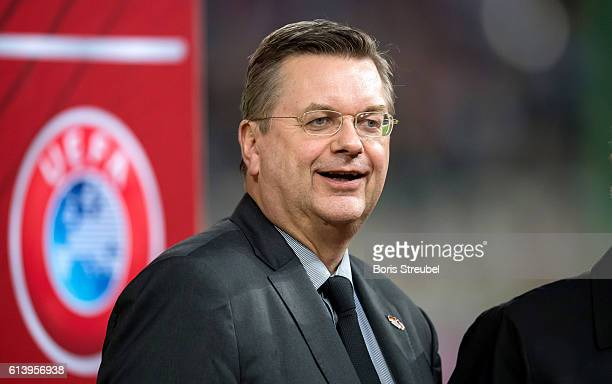 Reinhard Grindel president of the German Football Association looks on prior to the FIFA World Cup 2018 qualifying match between Germany and Czech...