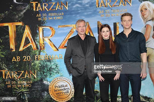 Reinhard Klooss Lena MeyerLandrut Alexander Fehling attend the 'Tarzan' photocall at Hotel Bayerischer Hof on February 18 2014 in Munich Germany