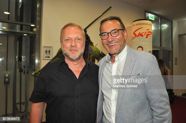 Reinhard Nowak and Heinz Stiastny pose during the 'Wish Upon' premiere in Vienna at Lugner Lounge Kino on July 25 2017 in Vienna Austria