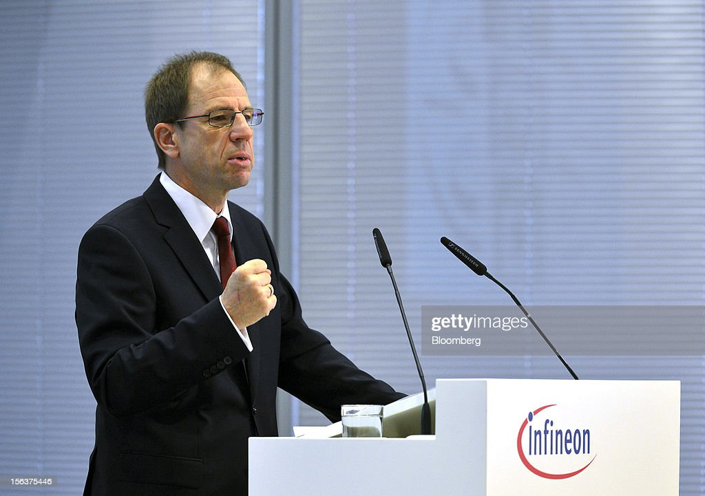 Reinhard Ploss, chief executive officer of Infineon Technologies AG, speaks during the company's earnings news conference in Munich, Germany, on Wednesday, Nov. 14, 2012. Infineon Technologies AG, Europe's second-biggest semiconductor maker, reported fourth-quarter revenue that declined less than analysts expected and forecast sales to drop next year. Photographer: Guenter Schiffmann/Bloomberg via Getty Images