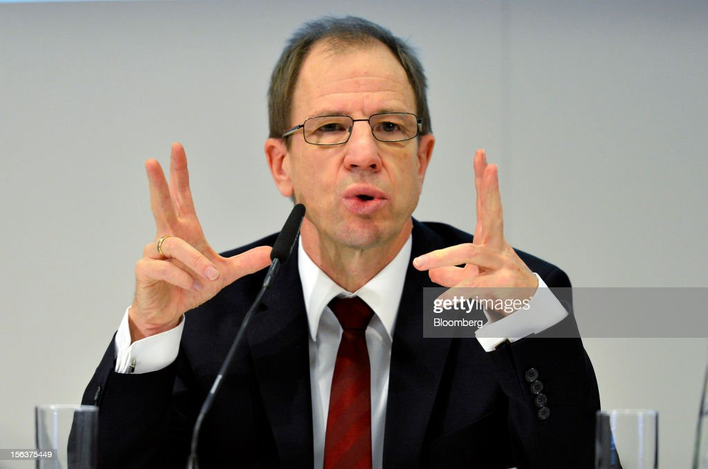Reinhard Ploss, chief executive officer of Infineon Technologies AG, gestures as he speaks during the company's earnings news conference in Munich, Germany, on Wednesday, Nov. 14, 2012. Infineon Technologies AG, Europe's second-biggest semiconductor maker, reported fourth-quarter revenue that declined less than analysts expected and forecast sales to drop next year. Photographer: Guenter Schiffmann/Bloomberg via Getty Images