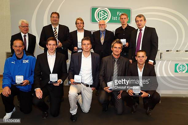 Reinhard Rauball president of Deutsche Fussball Liga DFL stadium speaker Klaus Hafner of Mainz 05 head coach Mike Bueskens of Fuerth Gunter Pilz...