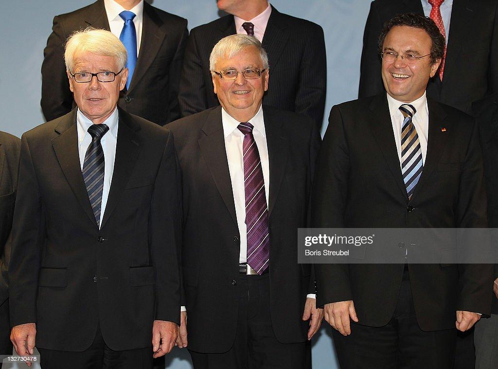 Reinhard Rauball president of the German Football League Theo Zwanziger president of the German Football Association and German Interior Minister...