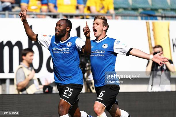 Reinhold Yabo of Bielefeld celebrates after scoring their second goal during the Second Bundesliga match between DSC Arminia Bielefeld and Eintracht...