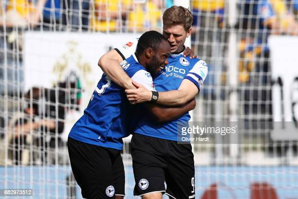 Reinhold Yabo of Bielefeld celebrates after scoring their third goal during the Second Bundesliga match between DSC Arminia Bielefeld and Eintracht...
