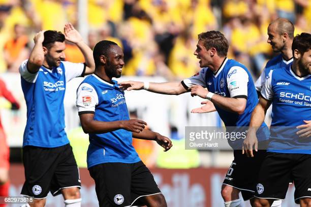 Reinhold Yabo of Bielefeld celebrates after scoring their third goal during the Second Bundesliga match between DSC Arminia Bielefeld and Eintracht...