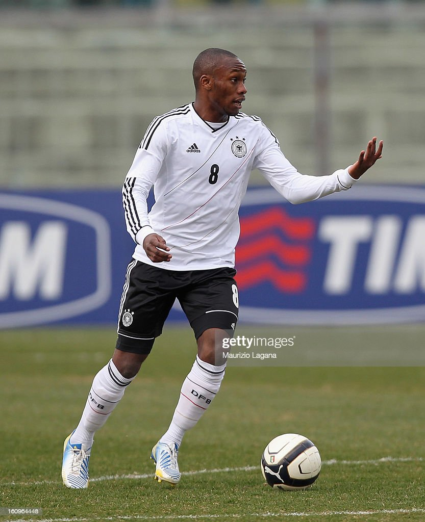 <a gi-track='captionPersonalityLinkClicked' href=/galleries/search?phrase=Reinhold+Yabo&family=editorial&specificpeople=4251446 ng-click='$event.stopPropagation()'>Reinhold Yabo</a> of Germany during U20 International Friendly match between Italy and Germany at Stadio Cosimo Puttilli on February 6, 2013 in Barletta, Italy.