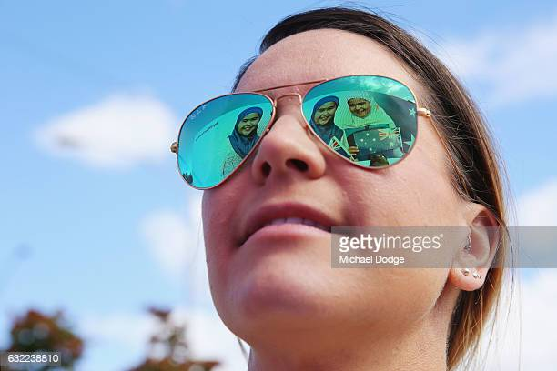 A reinstated Australia Day Advertisement Featuring Girls In Hijabs is reflected on workers glasses on Swan Street on January 21 2017 in Melbourne...