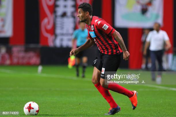 Reis of Consadole Sapporo in action during the JLeague J1 match between Consadole Sapporo and Shimizu SPulse at Sappaoro Dome on July 1 2017 in...