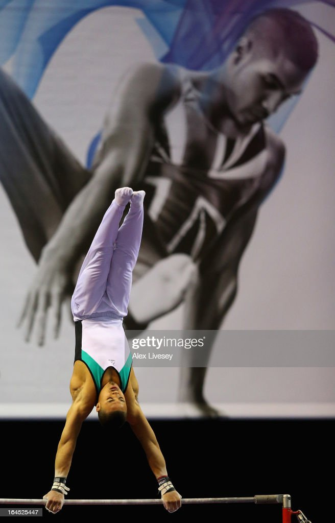 Reiss Beckford of South Essex competes in the High Bar in the Men's Masters event at the Men's and Women's British Gymnastics Championships at the Echo Arena on March 24, 2013 in Liverpool, England.