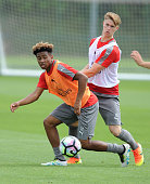 Reiss Nelson and Ben Sheaf of Arsenal during a training session at London Colney on July 21 2016 in St Albans England