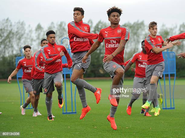 Reiss Nelson and Donyell Malen of Arsenal during the Arsenal UEFA Youth League Training Session at London Colney on September 12 2016 in St Albans...