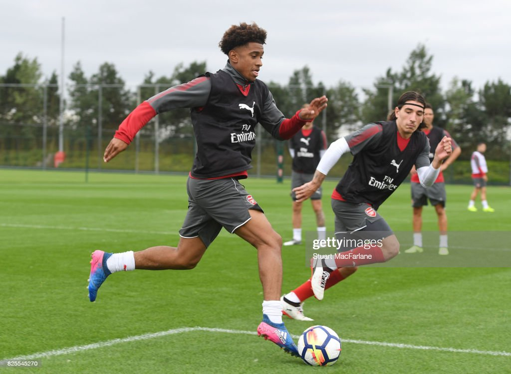 Reiss Nelson and Hector Bellerin of Arsenal during a training session at London Colney on August 2, 2017 in St Albans, England.