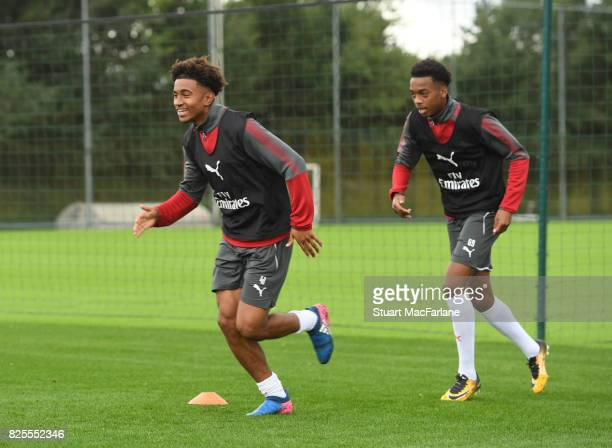 Reiss Nelson and Joe Willock of Arsenal during a training session at London Colney on August 2 2017 in St Albans England