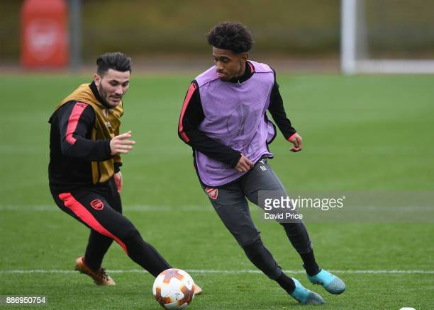 Reiss Nelson and Sead Kolasinac of Arsenal during the Arsenal Training Session at London Colney on December 6 2017 in St Albans England