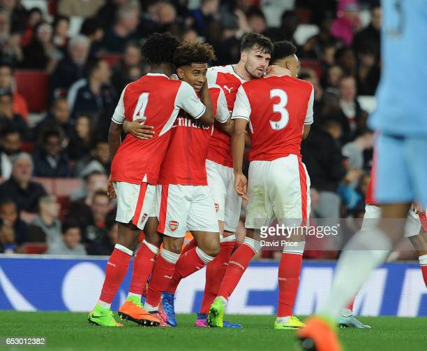 Reiss Nelson celebrates Arsenal's 2nd goal with Carl Jenkinson during match between Arsenal and Manchester City at Emirates Stadium on March 13 2017...