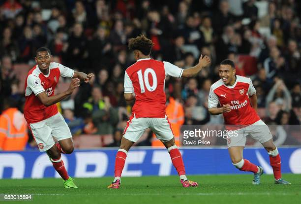 Reiss Nelson celebrates Arsenal's 2nd goal with Jeff ReineAdelaide and Donyell Malen during match between Arsenal and Manchester City at Emirates...