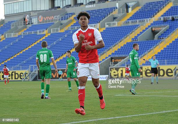 Reiss Nelson celebrates scoring a goal for Arsenal during the match between PFC Ludogorets Ragrad and Arsenal in the UEFA Youth League at Georgi...