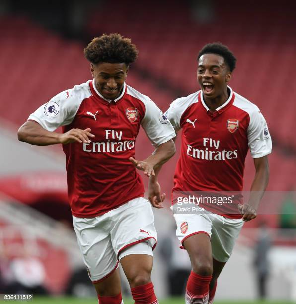 Reiss Nelson celebrates scoring a goal for Arsenal with Joe Willock during the match between Arsenal U23 and Manchester City U23 at Emirates Stadium...