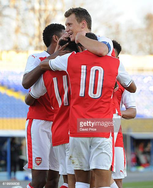 Reiss Nelson celebrates scoring a goal for Arsenal with Krystian Bielik during the match between PFC Ludogorets Ragrad and Arsenal in the UEFA Youth...