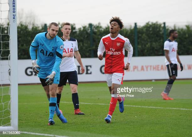 Reiss Nelson celebrates scoring Arsenal's 2nd goal during the match between Arsenal U23 and Tottenham Hotspur U23 at London Colney on March 3 2017 in...