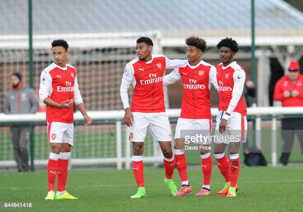 Reiss Nelson celebrates scoring Arsenal's 3rd goal with Cohen Bramall Jeff ReineAdelaide andAinsley MaitlandNiles during the match between Arsenal...