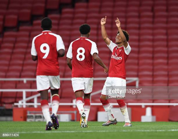 Reiss Nelson celebrates scoring Arsenal's 4th goal his 2nd during the match between Arsenal U23 and Manchester City U23 at Emirates Stadium on August...