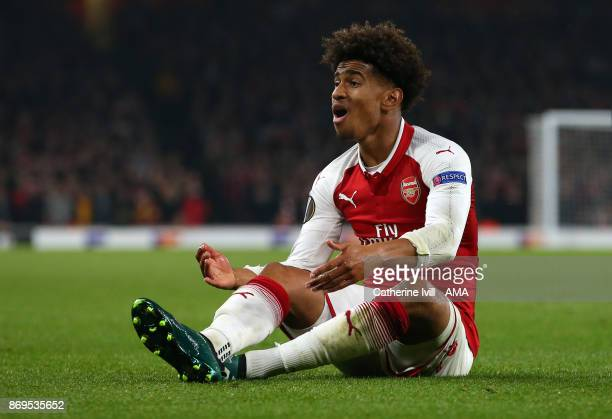 Reiss Nelson of Arsenal appeals during the UEFA Europa League group H match between Arsenal FC and Crvena Zvezda at Emirates Stadium on November 2...