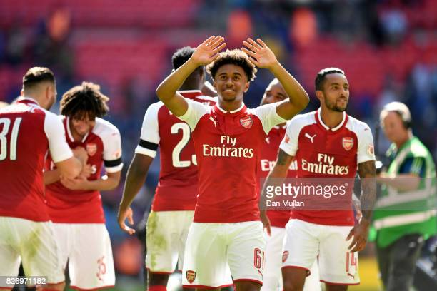 Reiss Nelson of Arsenal celebrates following the The FA Community Shield final between Chelsea and Arsenal at Wembley Stadium on August 6 2017 in...