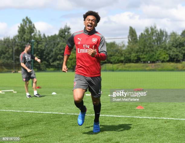 Reiss Nelson of Arsenal during a training session at London Colney on August 10 2017 in St Albans England