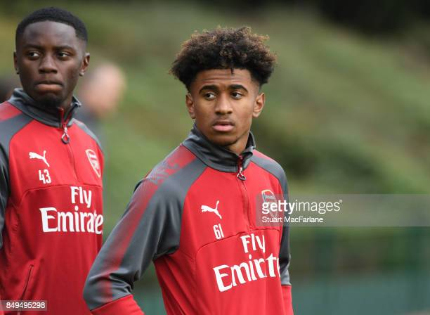Reiss Nelson of Arsenal during a training session at London Colney on September 19 2017 in St Albans England